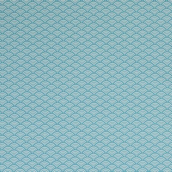 Swafing Luna petrol//weiß Motiv Abstrakt 160cm Stoff Baumwolle beschichtet