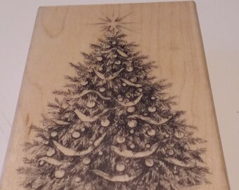 """Christmas Tree for cards//crafts Do-crafts 4 x 4/"""" Clear Stamp Folk Christmas"""