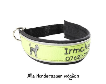 Collar dog with name and phone number, dog collar, train stop, reflective, poodle, leash