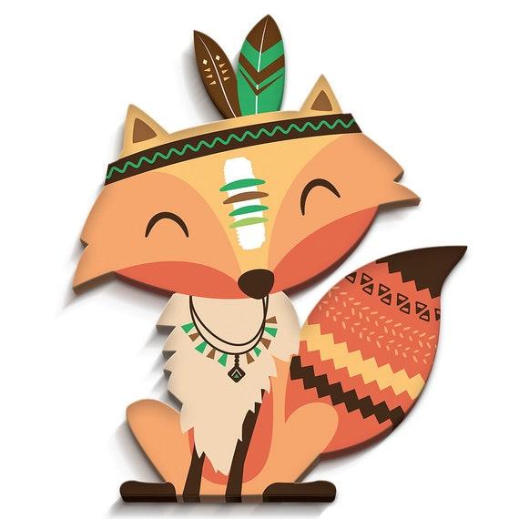 Indianer Fuchs 22 x 26cm 3D-Kinderzimmerdeko   Etsy