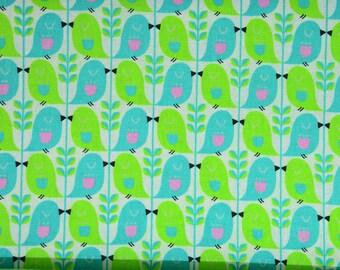 0,5 x 1,1 m SWEET BIRD mees&mees birds turquoise/neon/pink for KOKKA