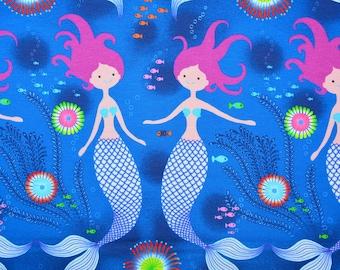 0,5 x 1,5 m MERMAID SHIRT knit Jersey HILCO A 3785/90 bleu/multi
