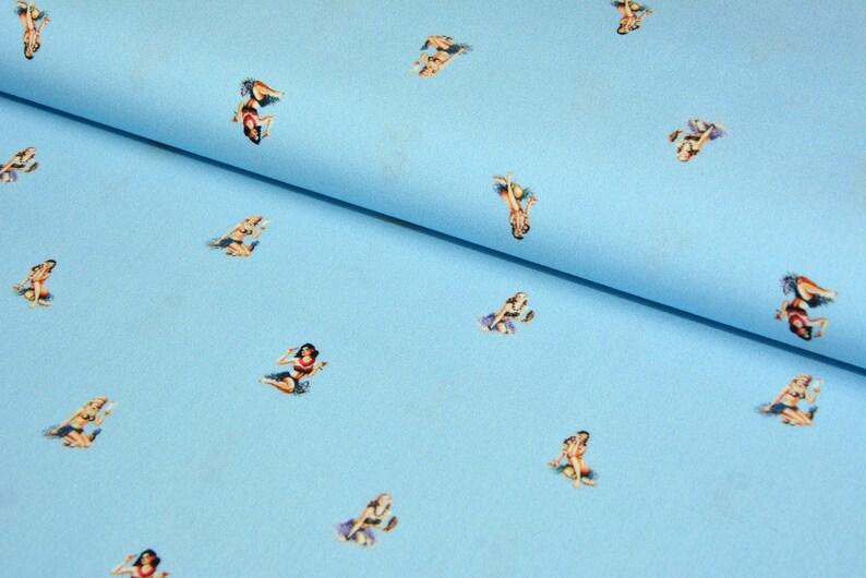 0,5 m HERMOSA Popeline 50ies Hilco light blue PIN-UP-Girls