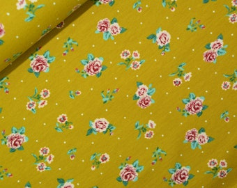 0,5 x 1,5 m SOFT SWEAT fabric soft and warm roses green/pink