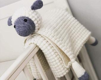 3in1 Cuddly Farm Sheep Folding Baby Blanket Crochet Pattern   Pram Toy Security Blanket Lovey   Lamb Baby Shower Gift For boy & Girl Present