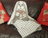 2 in 1 Hooded Woodland Bunny Rabbit Blanket in Adult and Child Sizes Crochet Pattern - Folding Blanket - Farm Animals - Great Gift