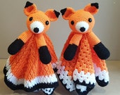 Foxy Fox Lovey Security Blanket Crochet Pattern With A Second Option For Beginners - Woodland Animal Fox Comforter - Baby Shower Gift