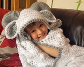 2 in 1 Hooded Ram Sheep Blanket in Adult and Child Sizes Crochet Pattern - Easter Spring Lamb Folding Blanket with Horns