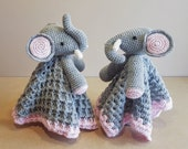 Ella The Elephant Baby Lovey Security Blanket Crochet Pattern ~ Up or Down Trunk ~ Two Style Blankie ~ Baby Shower Birthday Gift Unisex