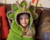 2 in 1 Hooded Dinosaur Blanket Triceratops or Stegosaurus in Adult and Child Sizes CROCHET PATTERN Wearable Blanket Christmas Birthday Gift