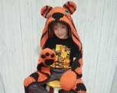 2in1 Safari Tiger Hooded Blanket Adult & Child Sizes CROCHET PATTERN | Animal Hooded Blanket | Wearable Blanket | Gift for Him Kids Blanket