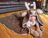 2in1 Woodland Deer Hooded Blanket Crochet Pattern | Adult & Child Sizes | Super Chunky Blanket | Animal Fawn Deer Crocheting Blanket Gift