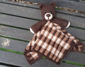 Barry The Bear Baby Lovey Security Blanket Comforter Toy Crochet Pattern ~ Baby Shower Birthday Gift Unisex Brown Plaid Gingham Blanket