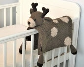 3 in 1 Decorative Woodland Deer Toy Baby Pram Security Blanket Lovey Crochet Pattern Folding Blanket