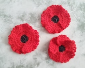 Red Poppy Flower Applique Set With 3, 4 & 5 Petals Crochet Pattern - For Flower Baby Blankets, Afghans or Jewellery - Remembrance Day Poppy
