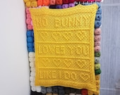 No Bunny Loves You Like I Do C2C Baby Blanket Pattern w/ Written Pattern & Large Graph | C2C Afghan Pattern Love Message Baby Shower Gift
