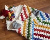 2in1 Rainbow Unicorn Hooded Blanket Crochet Pattern For Adults & Kids Wearable Blanket Christmas Birthday Gift Crochet Unicorn Hoodie Blanki
