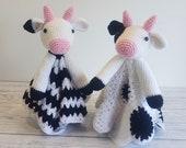 Daisy & Duke Cow Lovey Blanket Crochet Patterns   Security Blanket Baby Shower Gift   Farm Animals Baby Lovey Cuddle Play Toy Amigurumi Cow