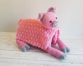 Pig Baby Blanket Crochet Pattern | Stroller Blanket | Baby Shower Gift For Boys & Girls | Pram Blanket | Cot Blanket | Piggy Blanket Toy