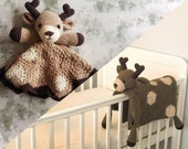 Deer Baby Blanket & Deer Lovey Baby Shower Set CROCHET PATTERN Multipurpose Baby Blanket Toy Play Mat Cot Blanket Baby Security Blanket Gift