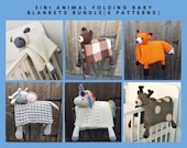 6 PATTERNS BUNDLE Of 3in1 Folding Animal Baby Blanket Toy Decorations - Sheep, Bear, Fox, Unicorn, Elephant & Deer - Baby Shower Gifts Birth