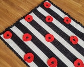 Poppy Flower Baby Blanket Afghan Crochet Pattern - Pram Blanket - Flower Blanket - Baby Shower Gift - Nursery Decor - Remembrance Day