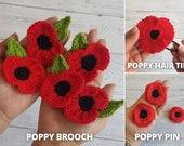 Bundle of 3 Remembrance Poppy Flower Crochet Patterns | Poppy Brooch, Poppy Pin, Poppy Hair Tie - Flower Applique Blanket Hat Clothe Jewelry