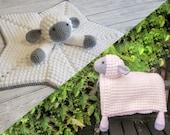 Sheep Baby Blanket & Lamb Lovey Baby Shower Set CROCHET PATTERN Multipurpose Blanket Toy Play Mat Baby Security Blanket Stroller Cot Blanket