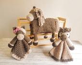 Horse Baby Blanket & 2 Horse Loveys Baby Shower Set CROCHET PATTERNS | Multipurpose Baby Blanket Toy Play Mat Cot Blanket Security Blanket