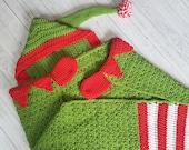 2in1 Hooded Christmas Elf Blanket Crochet Pattern | Christmas Afghan Adult Child Sizes Wearable Blanket Christmas Birthday Gift  Elf Blanket