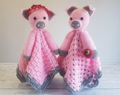 Pip & Petunia Pig Lovey Blankets Crochet Pattern | Comforter Security Blanket Baby Shower Gift | Farm Animals Pig Baby Lovey Cuddle Play Toy