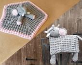Elephant Baby Blanket & Lovey Baby Shower Set CROCHET PATTERN Multipurpose Baby Blanket Toy Play Mat Cot Blanket Baby Security Blanket Gift