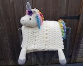 3 in 1 Rainbow Unicorn Baby Blanket Toy Lovey Security Blanket Crochet Pattern Folding Blanket