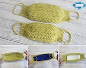 Face Mask With Filter Crochet Pattern 3 Different Designs | Adjustable Adult & Child Sizes | Lightweight For Summer Allergy Mask | Dust Mask