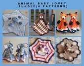 6 PATTERNS BUNDLE Of Animal Baby Lovey Security Blankets Toy - Sheep, Bear, Fox, Unicorn, Elephant & Deer - Baby Shower Gifts Birthday Toy