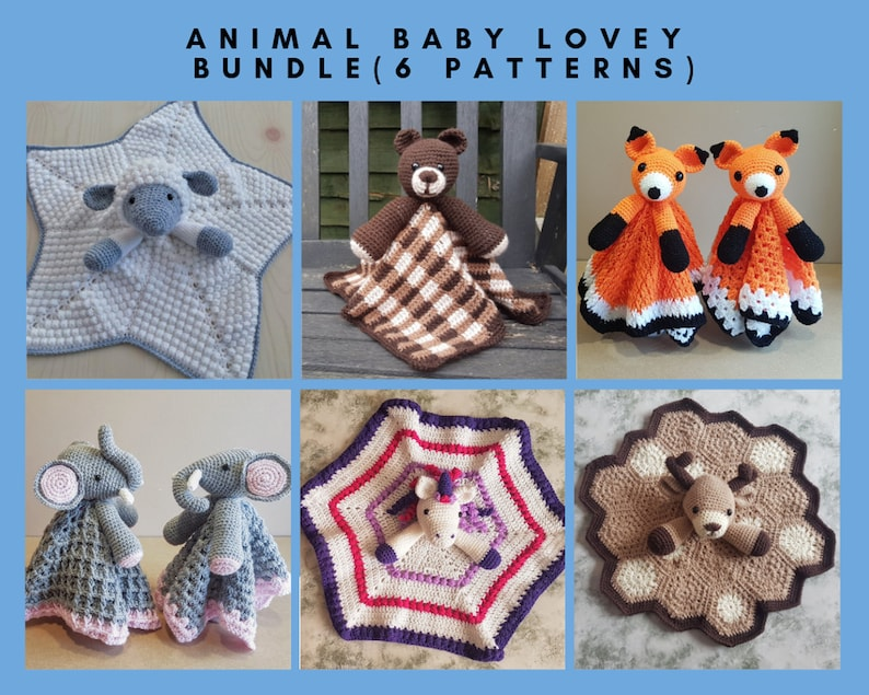 ba2c802293e18 6 PATTERNS BUNDLE Of Animal Baby Lovey Security Blankets Toy - Sheep, Bear,  Fox, Unicorn, Elephant & Deer - Baby Shower Gifts Birth