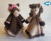 Harry & Harriet Horse Lovey Blanket Crochet Patterns | Comforter Security Blanket Baby Shower Gift | Farm Animals Baby Lovey Cuddle Play Toy