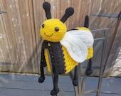 3in1 Happy Bee Folding Baby Blanket Toy Lovey Crochet Pattern - Baby Shower Gift Bee Keeper Present Nursery Decoration Cot Blanket
