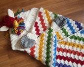 2in1 Rainbow Unicorn Hooded Blanket Crochet Pattern For Adults & Kids Wearable Blanket Christmas Birthday Gift Crochet Unicorn Hoodie Blanki