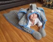 2 in 1 Elephant Hooded Blanket in Adult and Child Sizes Crochet Pattern - Safari Animal Decorative Folding Blanket  Birthday Christmas Gift