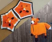 Fox Baby Blanket & Fox Lovey Baby Shower Set CROCHET PATTERN Multipurpose Baby Blanket Toy Play Mat Cot Blanket Baby Security Blanket Gift