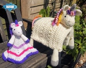 Unicorn Baby Blanket & Unicorn Lovey Baby Shower Set CROCHET PATTERN Multipurpose Baby Blanket Toy Play Mat Cot Blanket Baby Security Blanke