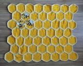 Bee Happy Honeycomb Baby Blanket Lapghan Crochet Pattern | Bumblebee Blanket Baby Shower Gift Bee Blanket Baby Gift Beekeeper Birthday Gift