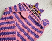 2 in 1 Hooded Cheshire Cat Blanket in Adult and Child Sizes CROCHET PATTERN Wearable Blanket Halloween Costume Birthday Gift Pink Cat Afghan