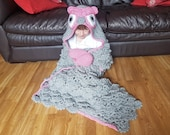 2 in 1 Woodland Owl Hooded Blanket in Child & Adult Size - Full Body Blanket w Mittens and Hood - Ruffled Feathers Look - Folds Into Cushion