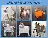 6 PATTERNS BUNDLE Of 3in1 Folding Animal Baby Blanket Toy Decorations - Sheep, Bear, Fox, Unicorn, Elephant & Deer - Baby Shower Gifts Birth