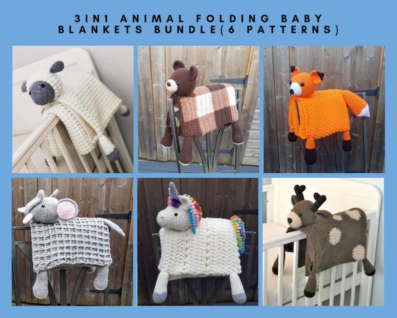 6 PATTERNS BUNDLE Of 3in1 Folding Animal Baby Blanket Toy image 0
