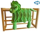 Triceratops Dinosaur Baby Blanket Crochet Pattern | Stroller Blanket | Baby Shower Gift For Boys & Girls | Pram Blanket | Dino Blanket Toy