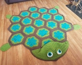 2 in 1 Sea Turtle Tortoise Hooded Blanket in Adult and Child Sizes Crochet Pattern - Baby Gift Marine Animals African Flower Granny Hexagon