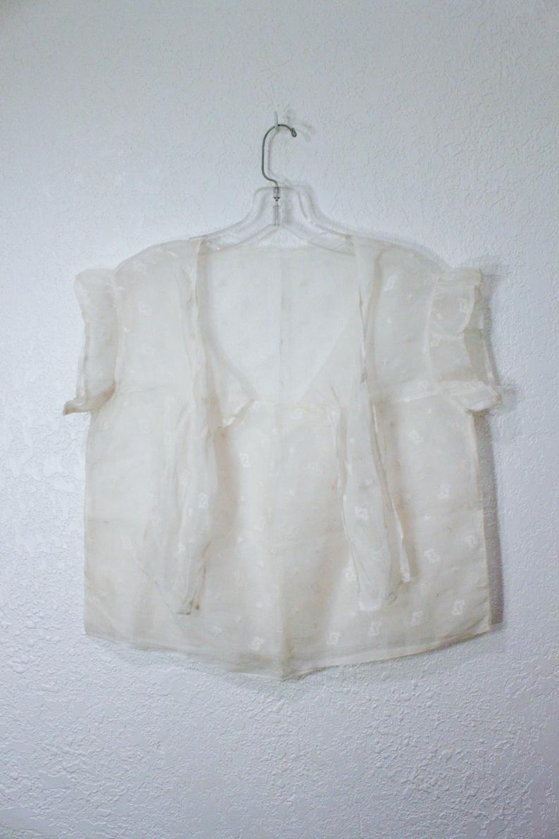 Sheer Vintage Embroidered Short Sleeve Tie Blouse
